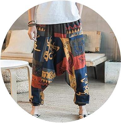 New Hip Hop Aladdin Hmong - Pantalones de harén de algodón y Lino, Talla Grande, para Hombre y Mujer - - XXX-Large: Amazon.es: Ropa y accesorios