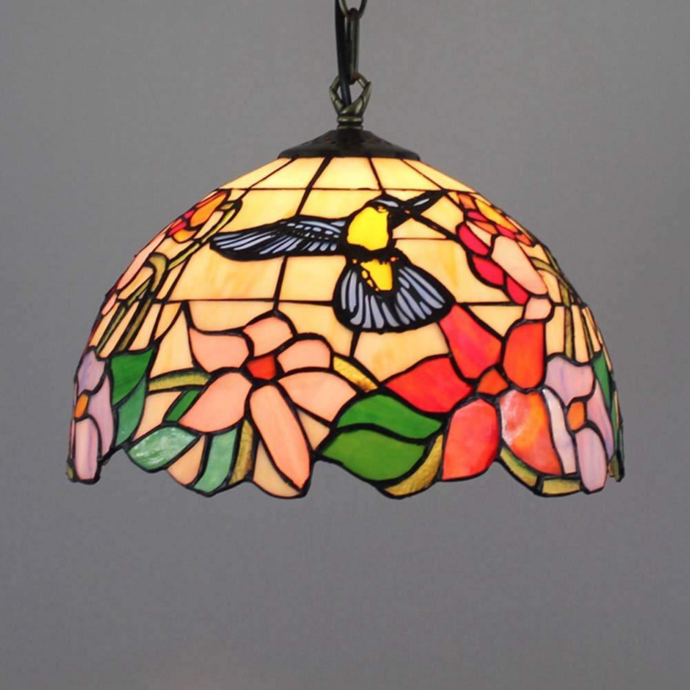 ティファニースタイルペンダントランプヨーロッパクリエイティブステンドグラス/鳥デザイン吊り天井ライト付きアイアンチェーン、リビングルー B07T14CGB1