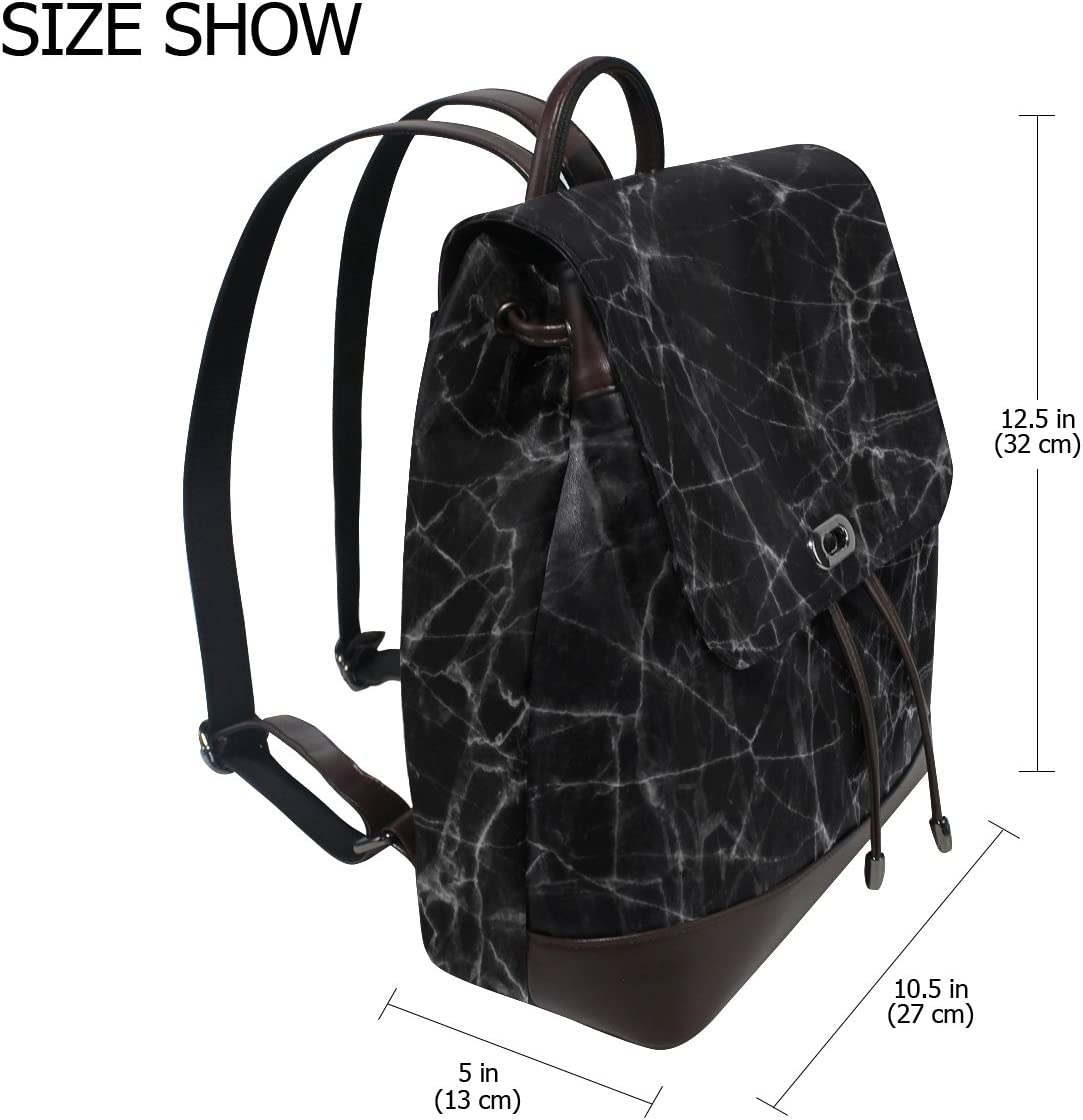 KUWT Black Marble Texture PU Leather Backpack Photo Custom Shoulder Bag School College Book Bag Casual Daypacks Diaper Bag for Women and Girl