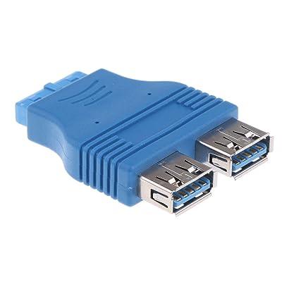 MagiDeal 2Ports USB 3.0 Femelle à 20 Broches En-Tête Adaptateur Carte Mère Connecteur Accessoire - Bleu