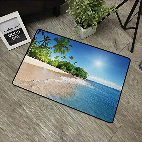 (Moses Whitehead Mats Soft on Kitty Paws Blue,Ocean Tropical Palm Trees on Sunny Island Beach Scene Panoramic View Picture,Blue Green and White,XL Jumbo, No Phthalate, Water Resistant, 30