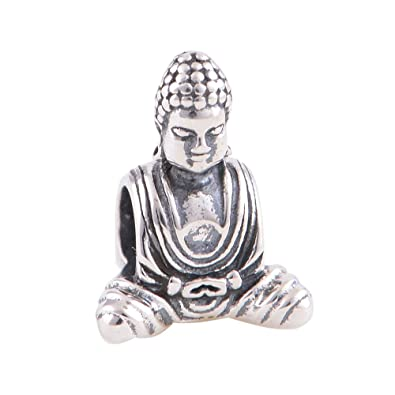 e43f4fccc Buddha in Meditation 925 Sterling Silver Bead Fits Pandora European Charm  Bracelets: Amazon.co.uk: Jewellery