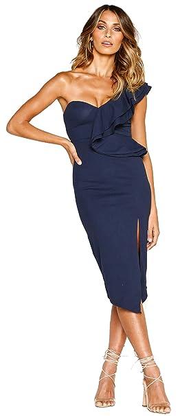 e13dd2568d55 Longwu Women's Elegant Ruffle One Shoulder Side Split Sleeveless Sexy  Bodycon Party Club Midi Dress Dark