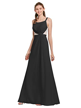 AWEI Womens Long Bridesmaid Gown Chiffon Evening Dress Petite Women Party Dress, Black, ...