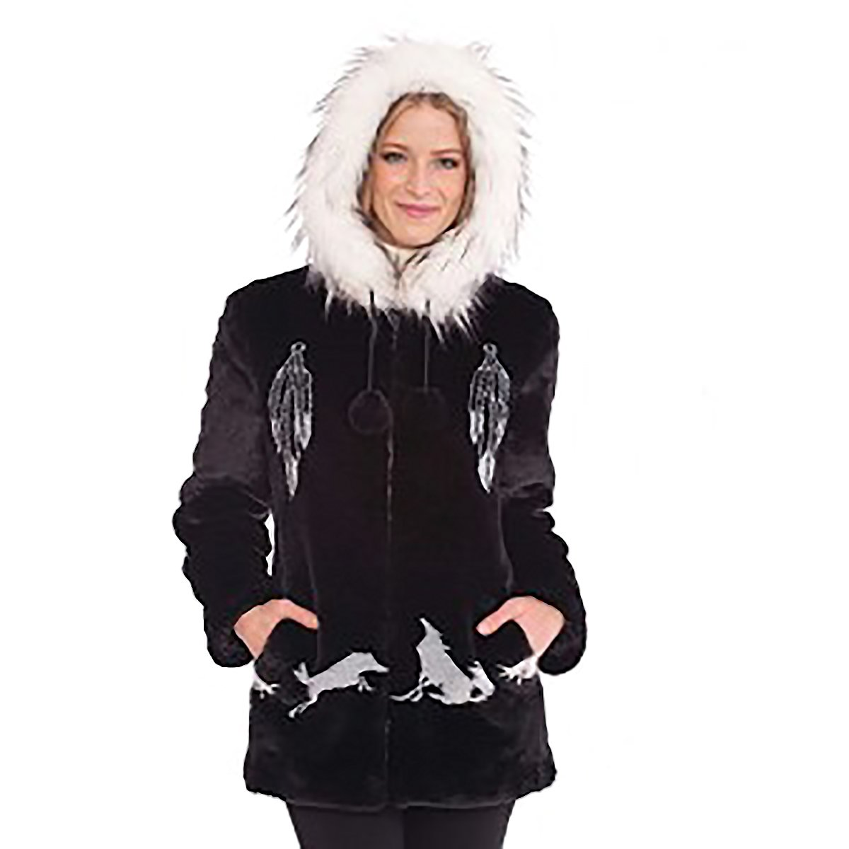 ea7a461d27 Black Mountain Ladies Dreamcatcher Faux Fur Coat