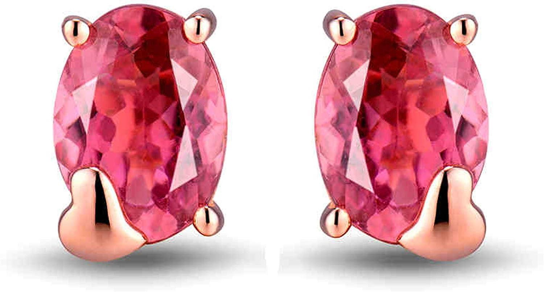 Aimsie Pendientes de oro rosa de 1,5 quilates con turmalina de corte ovalado para mujer de 18 quilates y 18 quilates Au750 oro rosa
