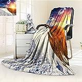 AmaPark Digital Printing Blanket Sunshine Clouds and Valley Sun Divider in College Summer Quilt Comforter