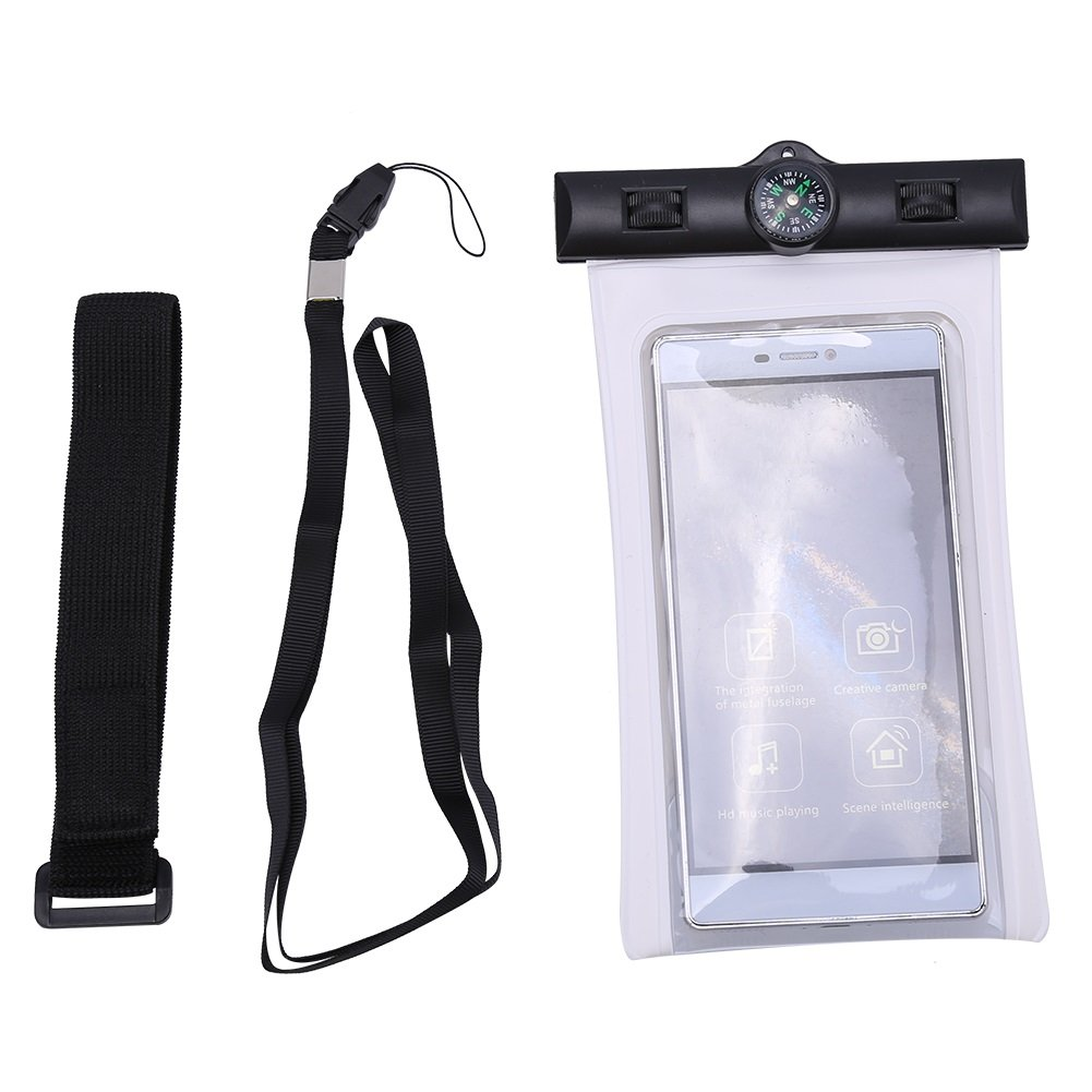 Waterproof Case Dry Bag Touch Screen Diving Phone Bag with Armband, Compass, Lanyard for 5.5' Smartphone ( Color : Black ) Lanyard for 5.5 Smartphone ( Color : Black ) VGEBY
