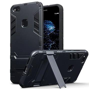 TERRAPIN Huawei P10 Lite Carcasa Híbrida de Silicona + Polycarbonato Doble Resistencia, y Soporte para Mesa - Negro Oscuro