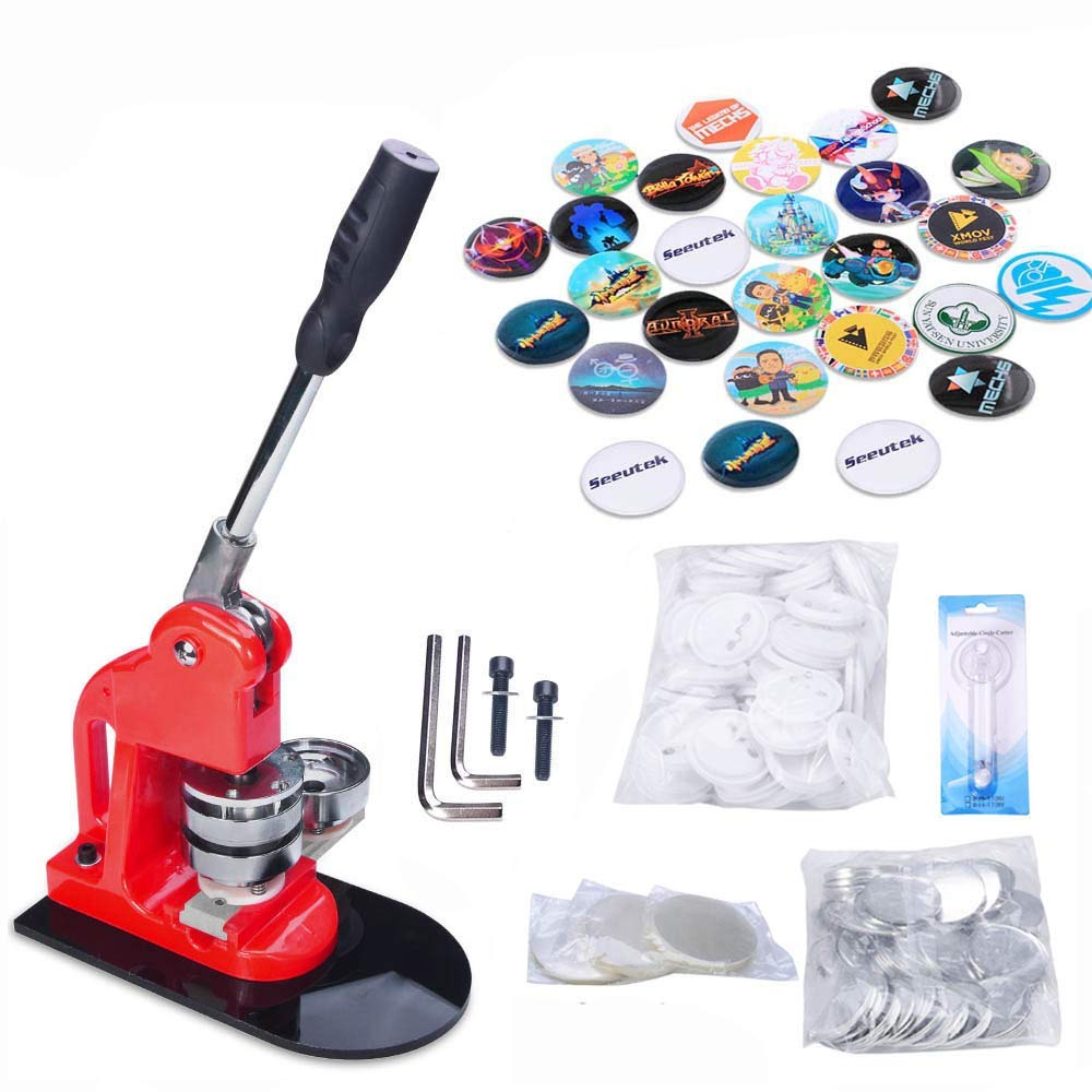 Seeutek 2-1/4 inch 58mm Button Maker Machine with 1100 Pcs Button Parts and 2-1/4 inch 58mm Circle Cutter by Seeutek