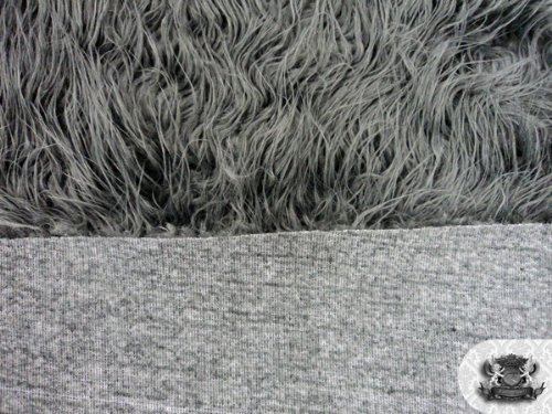 Faux/Fake Fur Mongolian Gray Fabric by The Yard