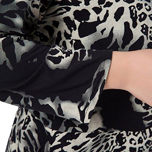 Giacca nero Aperta Blazer Leopardo Donna Stampato Chicwe Casual Forti Taglie Anteriore Cascata Avorio zgf7wqY