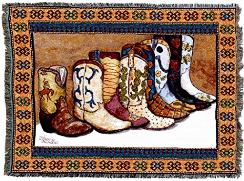 - Pure Country Weavers - Showing Off Western Cowboy Boots Woven Tapestry Throw Blanket with Fringe Cotton USA Size 72 x 54