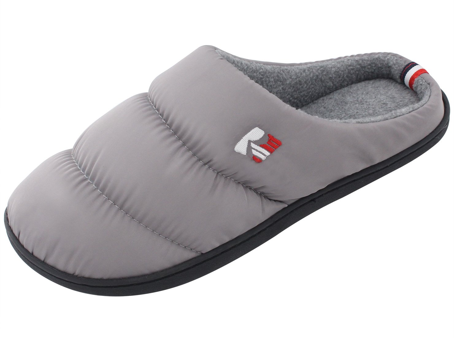 RockDove Women's Winter Memory Foam House Slippers, Quilted Snow Shoe Down Style Warm Cozy Soft Slip On Clogs for Home & Lounging (Medium (US 7-8), Light Gray)