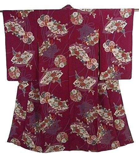 スティック分析するコーラスアンティーク 着物  正絹 袷 地紙に四季の花々や華薬玉 裄61cm 身丈140cm