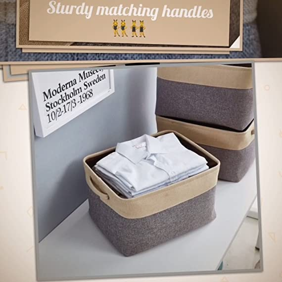 """DECOMOMO Extra Large Foldable Storage Bin [3-Pack] Collapsible Sturdy Cationic Fabric Storage Basket Cube W/Handles for Organizing Shelf Nursery Home Closet & Office - Grey & Beige 15.8 x 12.5 x 10"""" - Organize and Declutter - DECOMOMO's Foldable Storage Bins makes things easy to find. Utilize to organize and store children's toys, books and magazines, files, laundry, supplies and much more! Fashionable and Robust - Matches interior Décor of any household or office. Cleverly label each bin with the provided string and tag with our DIY kit. Personalize your bin with a style that matches any Décor! Rugged, Durable and Sturdy - Storage bin made of attractive canvas with interior lining. Solid hard inner base to help with Structure and Stability. Sewn in handles makes it easy to slide in and pull out from shelves, sectionals, closets, or the office. New version with added base support to make the bins more firm! The Perfect organizational tool. - living-room-decor, living-room, baskets-storage - 615Q7lkYEkL. SS570  -"""