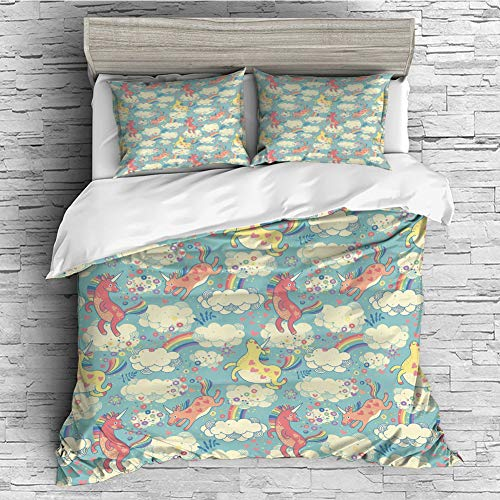 Soft Luxurious 4 Pcs Decorative Quilt Duvet Cover Set Comforter Cover Set(King Size) Pastel,Rainbow Unicorns Flying in Sky with Clouds Children Cheerful Kids Room Nursery Decor Decora