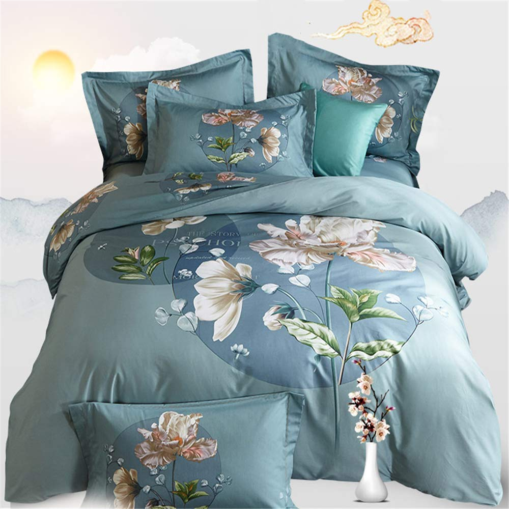 ZHIZHEN Bedding in Chinese Cotton Four-Piece Duvet Cover Bedspread Four Light Green 2.0m Bed by ZHIZHEN