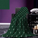 smallbeefly Fleur De Lis Throw Blanket Ancient Baroque Pattern Medieval French Motifs Royal Ornate Classic Warm Microfiber All Season Blanket for Bed or Couch Hunter and Sage Green