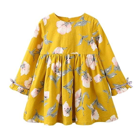 Ropa de niñas BBsmile Vestidos de fiesta de fiesta de bowknot floral de manga larga de