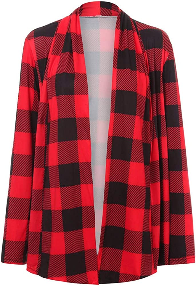 Womens Cardigan,Ladies Long Sleeve Plaid Printed Long Top Lightweight Open Front Jacket
