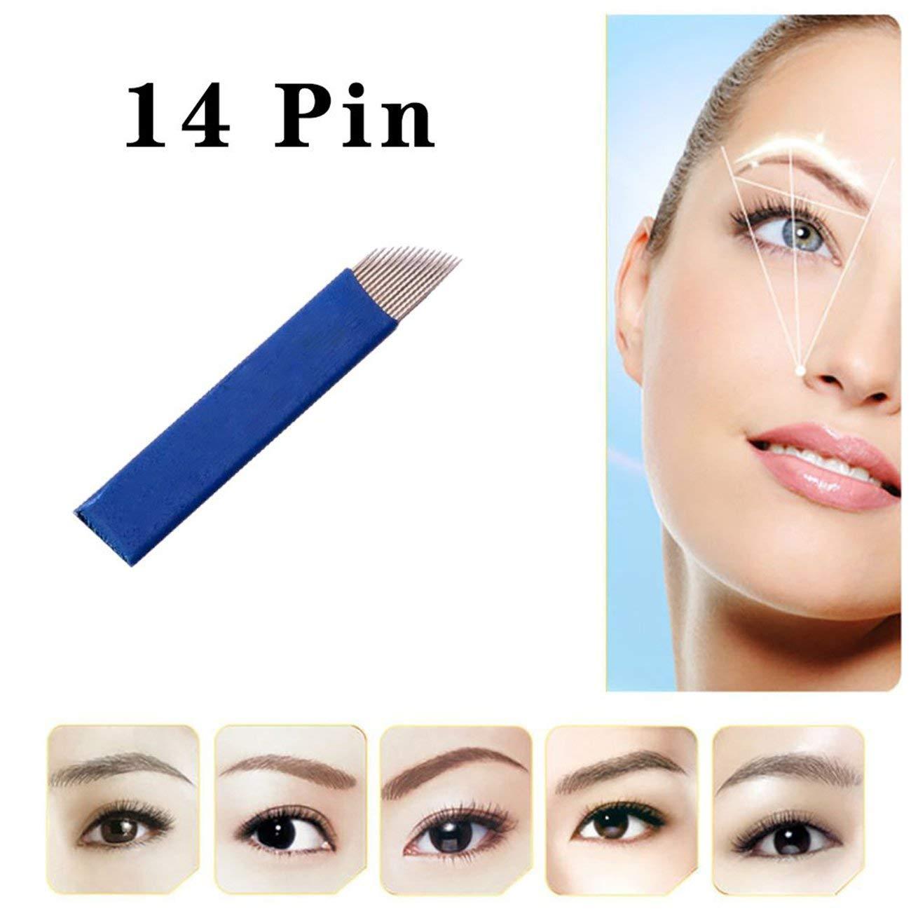 Elviray 50 14-Pin Maquillaje Permanente ceja Tatuaje punzonador de Aguja Bordado 3D Micro-Talla Accesorios de la Pluma del Tatuaje