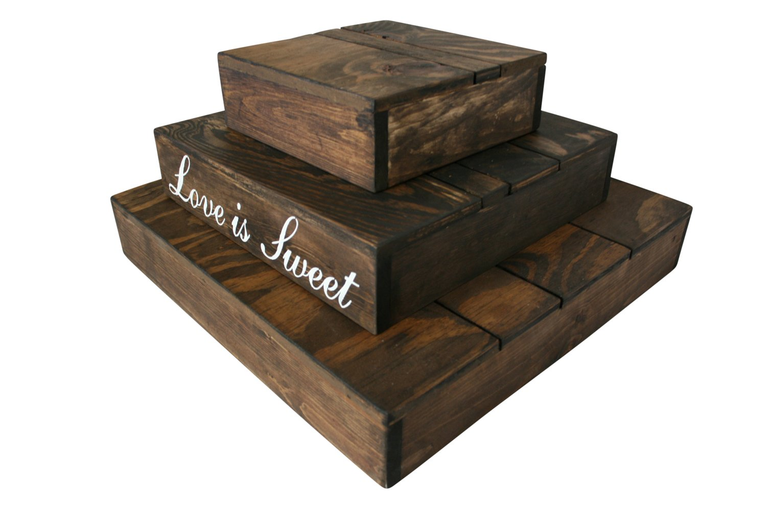 Rustic Wedding Country Barn Farmhouse Wedding Cake Cupcake Stand 3 Tier Rustic Wooden Country Cake Cupcake Stand (Dark Walnut) by Cleo Classic Designs (Image #4)