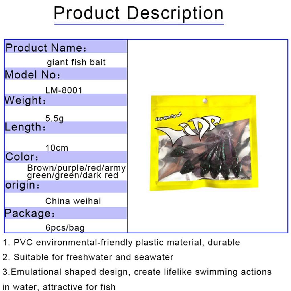 F-blue 6PCS Lifelike Fishing Lures Worm Bait Saltwater Freshwater Bionic Fish Fishing Bait 10cm//5.5g