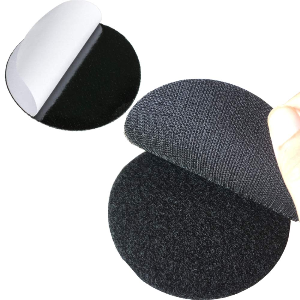 Bigger Round Size Self Adhesive 6 Pack 4 inch Hook Loop Tape Dots with Super Sticky Back Mounting Tape Removable Perfect for Home or Office (4 inch Diameter, Black) by Ywhomal