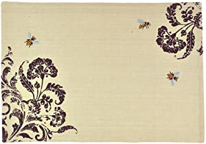 Design Imports Busy Bees Embroidered Cotton Table Linens Placemat 13-Inch by 19-Inch