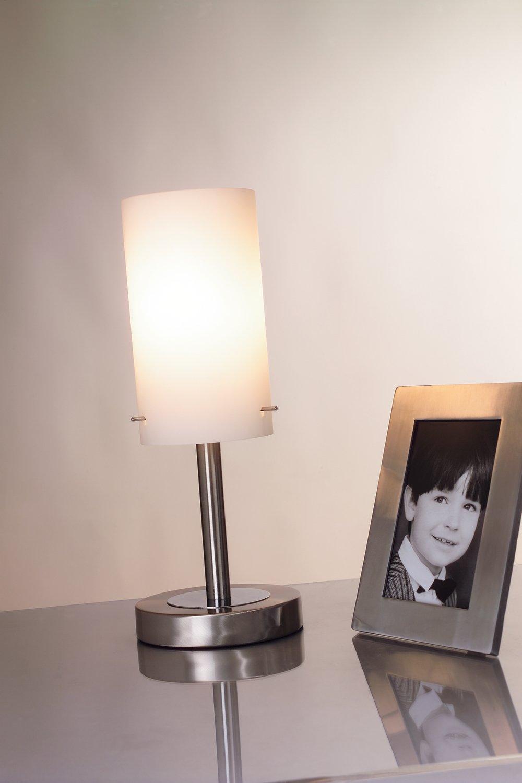 Paulmann Milla Lámpara de Mesa, Máx 60 W E14, 0 W, Níquel, Color blanco, 13 X 13 X 40 cm