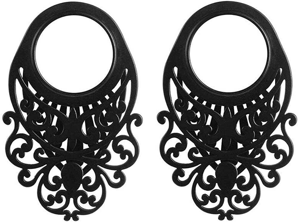 Casvort 2 PCS 100/% Stainless Steel Black fashion ear plug tunnel body jewelry piercing ear gauges expander pair selling