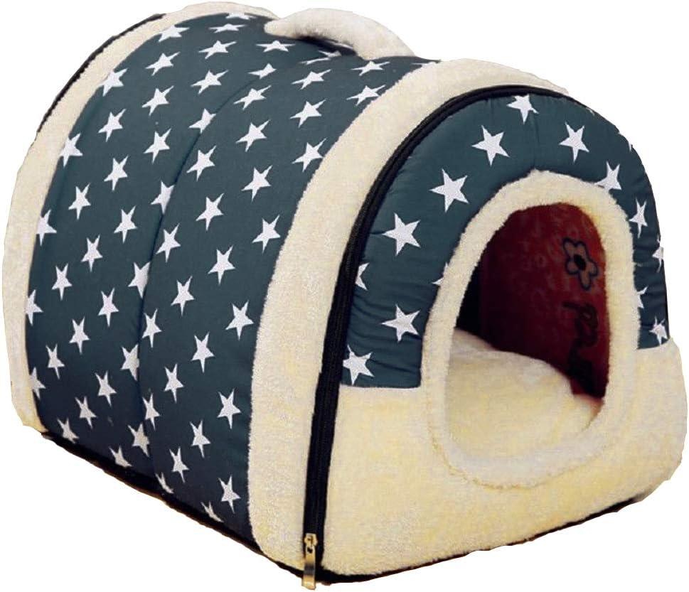 patrón de estrella Nido para mascotas, suave y acogedor perro mascota nido cálido nido mascota algodón, Multifuncional plegable Cama Cómodo Casa Para Perro gato Mascota (M, azul)