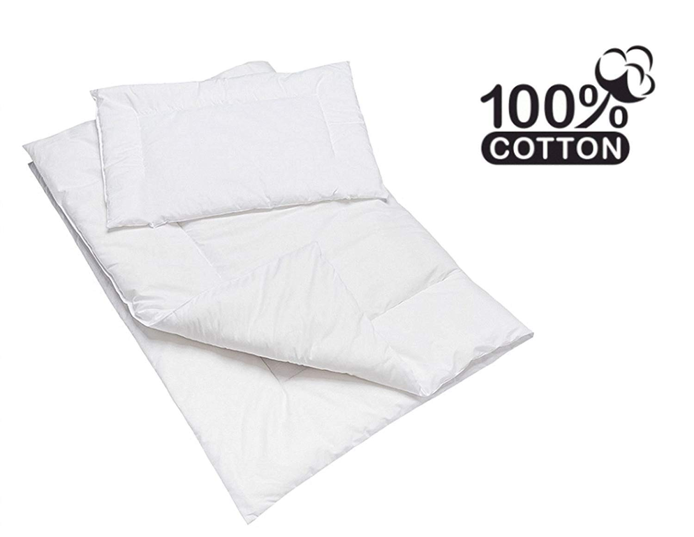 Anti Alergia Cuna Funda De Edred/ón Y Almohada//funda de edred/ón tama/ño 135/x 100/cm color blanco