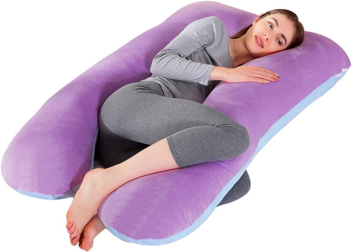 SHANNA Grand oreiller de grossesse en forme de U 100//% coton avec housse en velours rempla/çable et lavable pour nuit et allaitement 70/x 145/cm