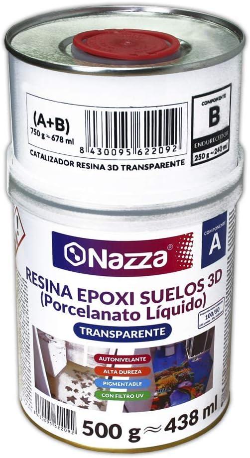 Porcelanato Líquido Nazza - Resina Epoxi 3D Autonivelante y Transparente de Alta Dureza, Bajo Olor y Elevada Transparencia | Perfecta para Creación de Suelos 3D con Vinilos Adhesivos | 750 gr. (A+B)