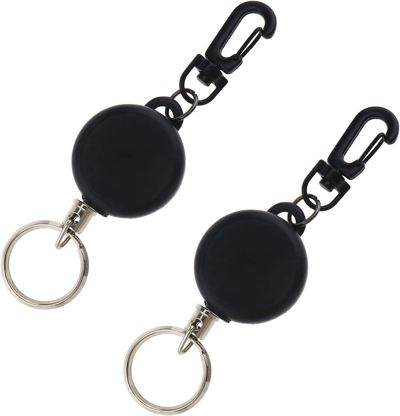 1x Retractable Metal Pull Chain Reel ID Card Keychain Holder Recoil Belt Clip
