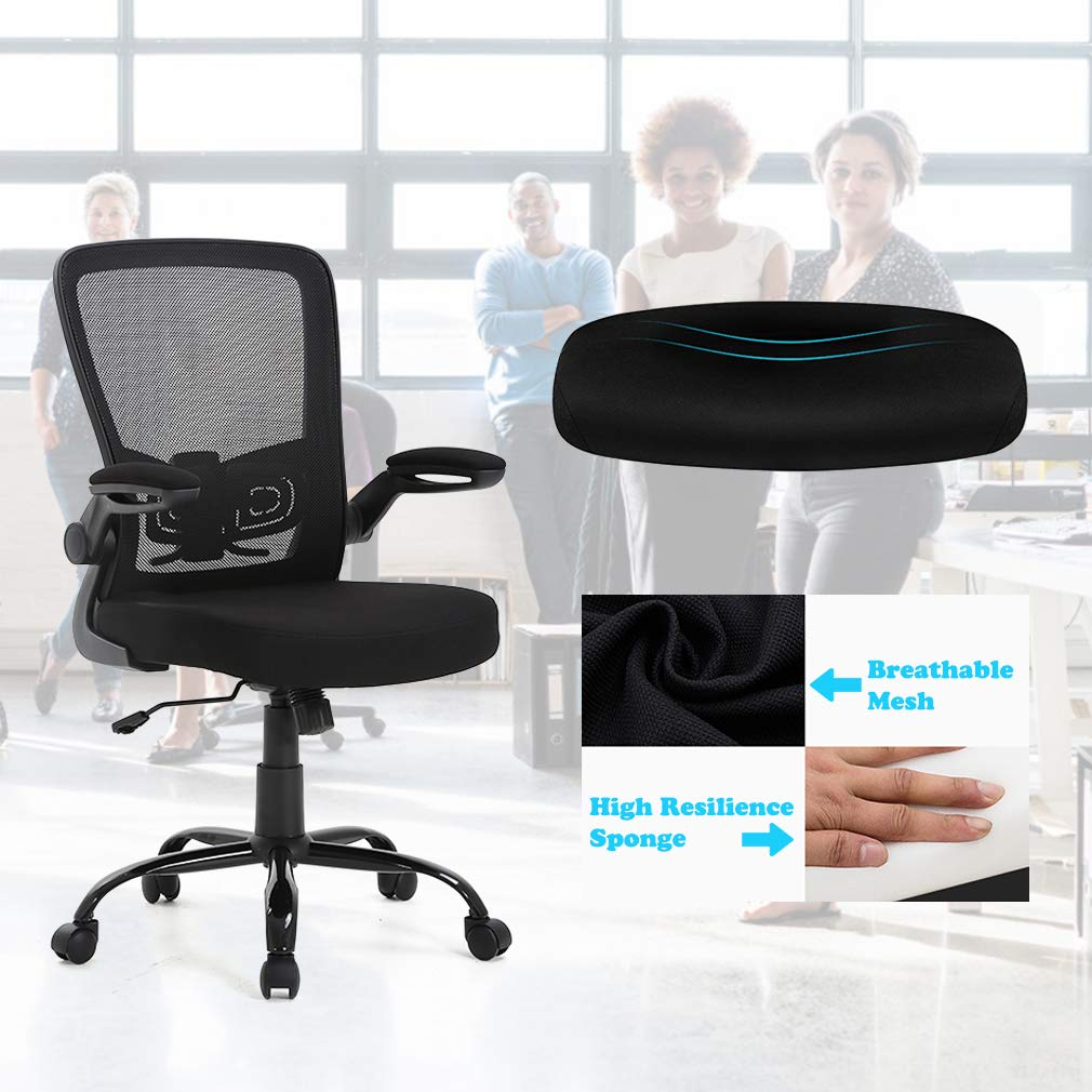 Best Office Chairs For Back Support >> Bestoffice Office Chair Mesh Desk Chair Lumbar Support Desk Chair Ergonomic Adjustable Computer Chair Swivel Ergonomic Task Chair With Flip Up Armrest