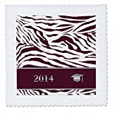 qs_180902_1 Beverly Turner Graduation Design - 2014 Zebra Print with Graduation Cap, Red - Quilt Squares - 10x10 inch quilt square