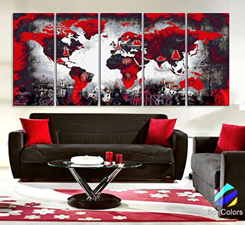 Original by BoxColors Xlarge - modern red black wall art