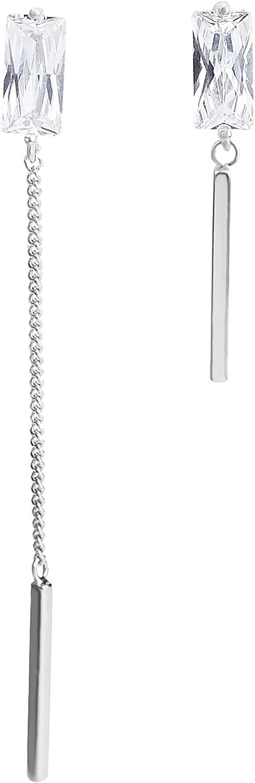 Elensan Plata de ley 925 Ear Cuff Stud Pendientes Cristal un uno Largo Corto Pendientes de Gota