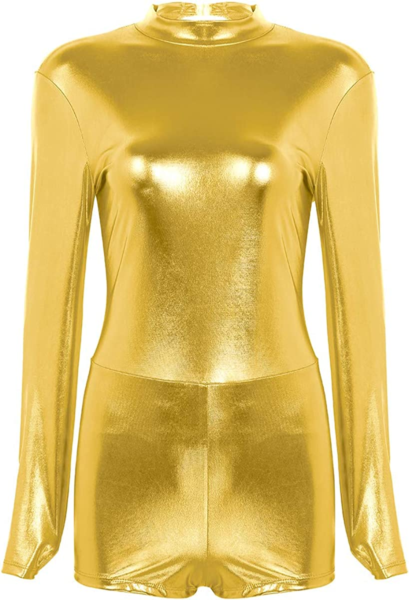 CHICTRY Damen Body Metallic Langarmbody Ballettanzug Ballett Trikot Leotard Gymnastikanzug R/ückenfrei Tanzbody in 4 Gl/änzend Farben