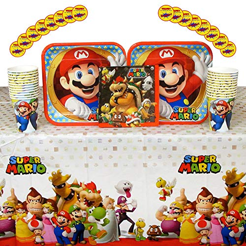 Cedar Crate Market Super Mario Brothers Party Supplies Pack for 16 Guests: Stickers, Dinner Plates, Luncheon Napkins, Cups, and Table Cover ()