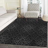 Dark Grey Area Silky Smooth Rugs Black Damask Arabesque and Floral Elements Oriental Antique Ornament Vintage Floor Mat Pattern 3x5 Black Grey
