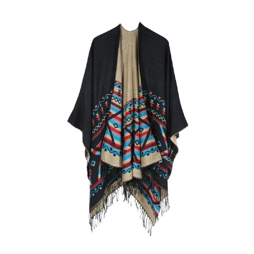 Excellent Women's Fall Winter Scarf Cloak Tassel Cape Mantle Scarf Quick Flabby Kerchief Wrap Shawl Scarves (Color : Black, Size : 51.1 x 59.06 Inch') by Excellent
