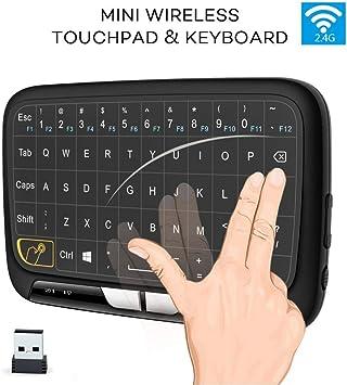 Teclado inalámbrico Mini cargable de 2.4GHz, combinación de Panel táctil y Teclado táctil, Teclado de Control multitáctil para PC Laptop Pad