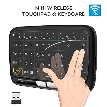Teclado inalámbrico Mini cargable de 2.4GHz, combinación de Panel táctil y Teclado táctil, Teclado de Control multitáctil para PC Laptop Pad: Amazon.es: ...
