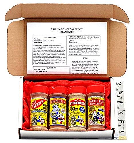 Obie-Cue's Texas Gift Box, 4 bottles - Backyard Hero (Steakmaker, Bigbulls, Smooth Moove & Sweet Rub) by Obie Cue's Texas Spice
