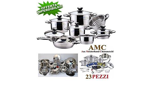 AMC batería Ollas sartenes inducción Antiadherente Acero Inoxidable 23 Piezas Cocina: Amazon.es: Hogar
