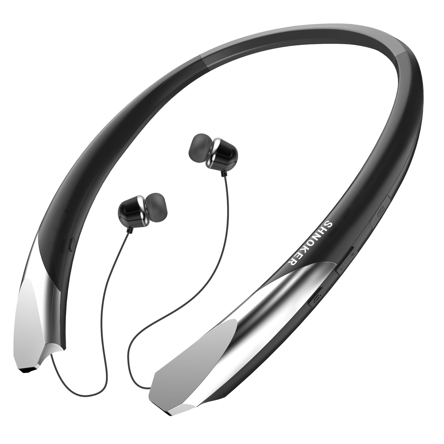 Bluetooth Headphones Sports Neckband Bluetooth Headsets Retractable Earbuds Wireless Sweatproof Bluetooth V4.1 Stereo Earphones with Noise Cancelling Mic for Iphone and Android Cellphones (Black)